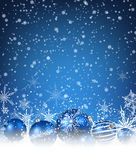 Christmas blue background. With balls and snowflakes. Vector illustration Stock Photos