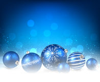 Christmas blue background. With balls. Vector paper illustration Stock Images