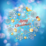 Christmas blue background with baubles. EPS 10 Stock Photo