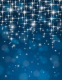 Christmas blue background with brilliance stars, v. Ector illustration Royalty Free Stock Photo
