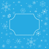 Christmas blue background with center frame Royalty Free Stock Image