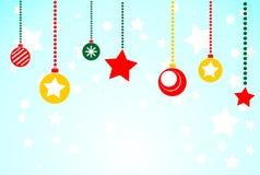Christmas blue background with Christmas toys. Flat illustration.  Stock Photos