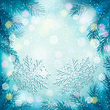 Christmas blue background with christmas tree Stock Image