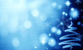 Christmas blue background with Christmas tree Stock Photo
