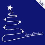 Christmas blue background with Christmas tree, 2018 theme. Christmas blue background with Christmas tree, 2018 year theme Stock Images