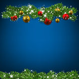 Christmas blue background with fir branches. Christmas blue background with fir twigs and colorful balls. Vector illustration Royalty Free Stock Image