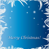 Christmas blue background. Frame with frost and text Royalty Free Stock Image