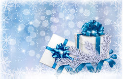 Christmas blue background with gift boxes Royalty Free Stock Images