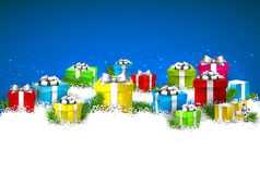 Christmas blue background with gift boxes. Stock Image