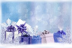 Christmas blue background with gift boxes and snow Stock Photo