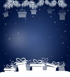 Christmas blue background with gifts Stock Image