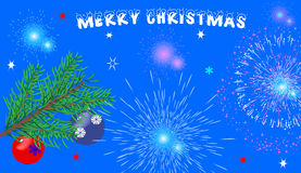 Christmas blue background with glasses,. Fireworks and a Christmas tree. With the greeting text Royalty Free Stock Photo