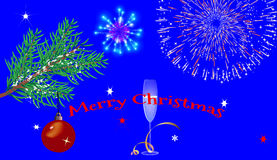 Christmas blue background with glasses, fireworks. And a Christmas tree. With the greeting text Stock Images