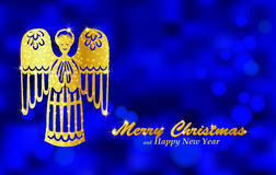 Christmas blue background with golden angel. Holiday blurred background decorated with shining golden paper figure of angel. Vector Royalty Free Stock Image