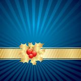 Christmas blue background. Christmas blue and golden background with holly Royalty Free Stock Photos