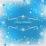 Christmas blue background for greeting card with snowflakes Stock Photo