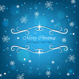 Christmas blue background for greeting card with snowflakes Stock Image