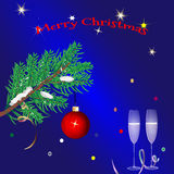 Christmas blue background With the greeting text Stock Images