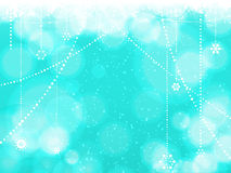 Christmas blue background with hanging stars Stock Photo