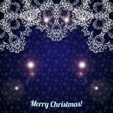 Christmas blue background. Christmas background with large snowflakes top. Vector illustration Royalty Free Stock Photo