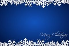 Christmas blue background lined snowflakes, simple holiday card Stock Images
