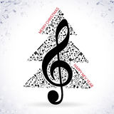 Christmas blue background music 2017. Musical background with a treble clef and notes Stock Image