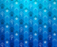 Christmas blue background. New Year blue pattern with star and gift. Qualitative vector (EPS-10) backdrop for new year's day, christmas, decoration, winter Stock Photography