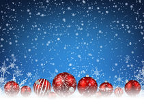 Christmas blue background. With red balls. Vector illustration Stock Photography