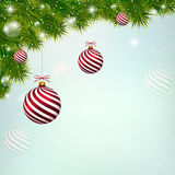 Christmas blue background with red New Year balls Stock Photos