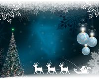 Christmas blue background with Santa Claus with slow-moving deer. Christmas blue background with a Christmas tree, balls and with Santa Claus riding a deer Stock Image