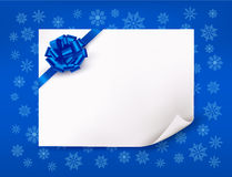 Christmas blue background with sheet of paper Stock Photo