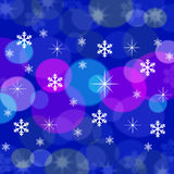 Christmas blue background. With snow and stars Royalty Free Stock Photos