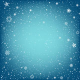 Christmas blue background with snow Royalty Free Stock Photo