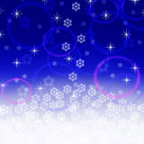 Christmas blue background. With snowfall and stars Royalty Free Stock Photo