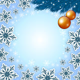 Christmas blue background with snowflakes Stock Photography