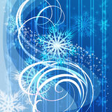 Christmas blue background with snowflakes. Illustration with turning snowflakes against blue snow swirly background Stock Photos