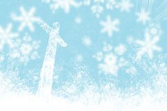 Christmas blue background snowflakes and light. With cross Royalty Free Stock Images