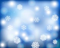 Christmas blue background with snowflakes. New Year  illustration Royalty Free Stock Photos
