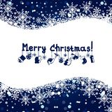 Christmas blue background with snowflakes. Christmas blue background with snow and snowflakes Royalty Free Stock Photo