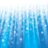 Christmas blue background with snowflakes an stars. Christmas blue background with snowflakes and glowing stars - vector Stock Image
