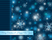 Christmas blue background with snowflakes, vector Stock Photo