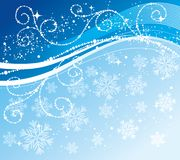 Christmas blue background with snowflakes Royalty Free Stock Photos