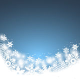 Christmas blue background, with snowflakes. Vector illustration Stock Images