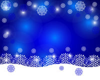 Christmas blue background with snowflakes. Vector illustration Stock Photos