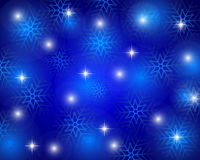 Christmas blue background with snowflakes. Vector illustration Royalty Free Stock Photography