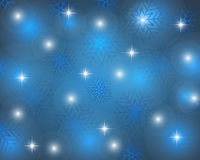 Christmas blue background with snowflakes. Vector illustration Stock Photography