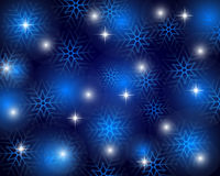 Christmas blue background with snowflakes, vector. Illustration Stock Photos