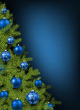 Christmas blue background. With christmas tree. Vector illustration Royalty Free Stock Photo