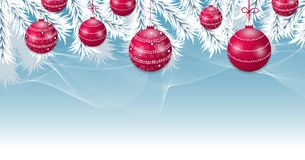 Christmas blue background with tree white branches and red balls. Holidays baubles decoration banner. Vector. Illustration Royalty Free Stock Images
