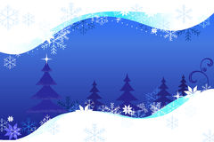 Christmas blue background trees and snow Royalty Free Stock Image